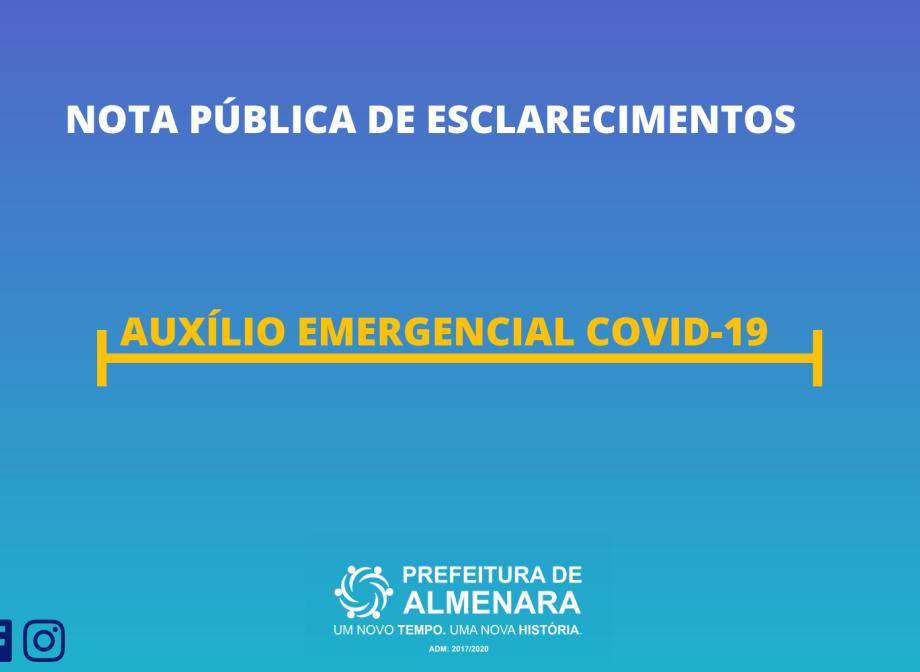 NOTA PÚBLICA DE ESCLARECIMENTOS: AUXÍLIO EMERGENCIAL COVID-19
